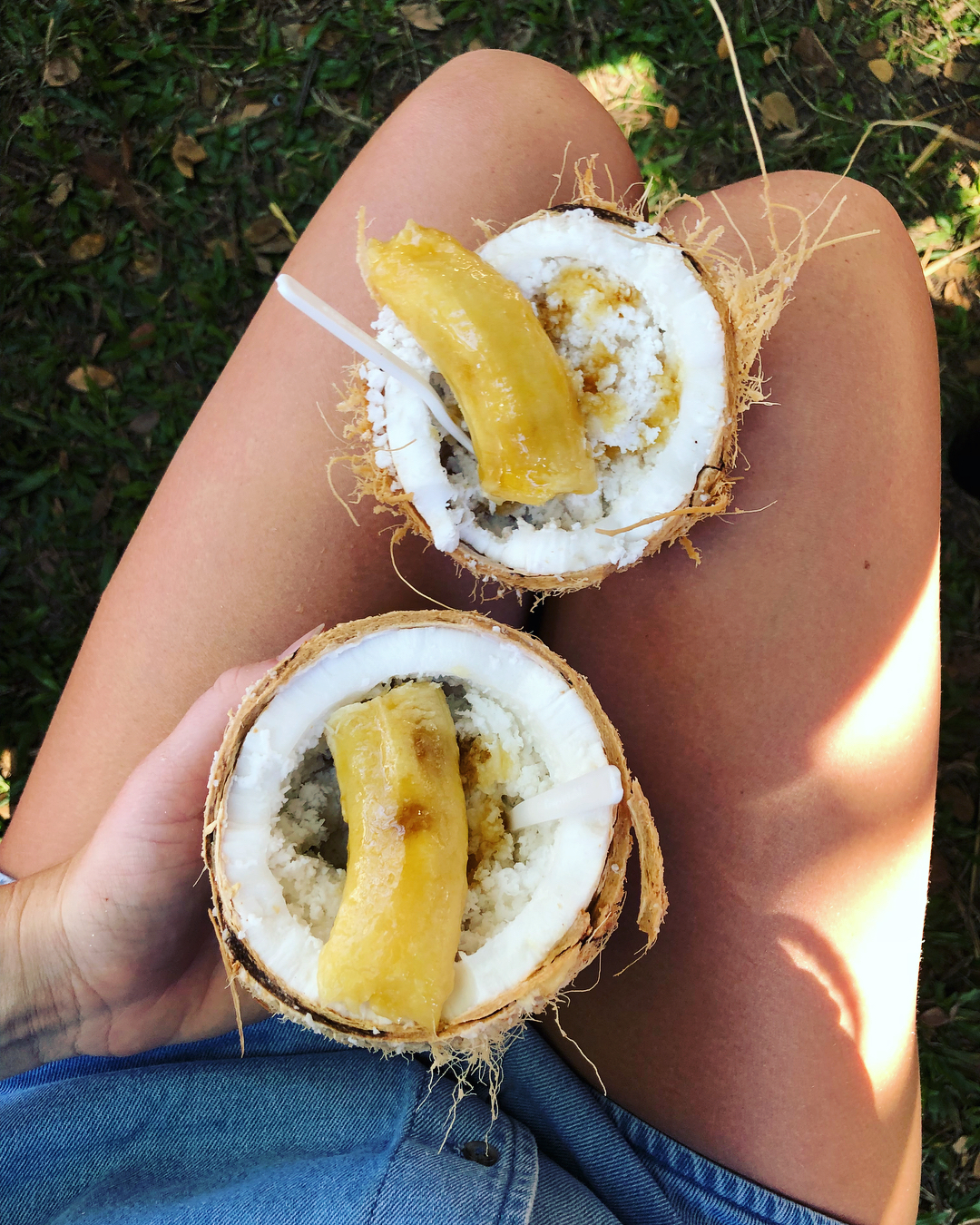Shredded coconut bowls at the Port Douglas Sunday Markets
